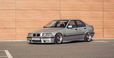 Silver BMW e36 sedan on cult classic BBS RF wheels