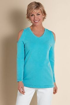 Compare at $89.95 Style #27313 You'll love the haute cold-shoulder look in this soft French terry cotton pullover, dyed with a special process for rich color and one-of-a-kind results. - 95% cotton, 5