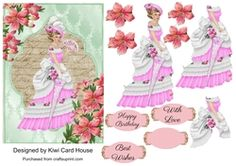 Victorian Lady Decoupage Card Front on Craftsuprint - View Now!
