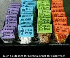 Halloween treats for kids! Mini chocolate chips, mini marshmallows, mini grams or cinnamon toast crunch, & candy corn More
