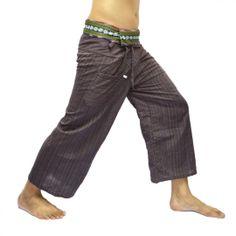 Purple Thai Fisherman Pants with Thai hand woven fabric on waist side, Wide Leg pants, Wrap pants, Unisex pants  $25.00 Free shipping