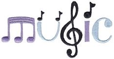 Music 4 - 2 Sizes! | What's New | Machine Embroidery Designs | SWAKembroidery.com Bunnycup Embroidery
