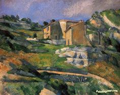 Houses in Provence Artwork by Paul Cezanne Hand-painted and Art Prints on canvas for sale,you can custom the size and frame