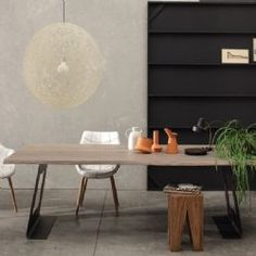 Laser Twins Oak and Steel Dining Table