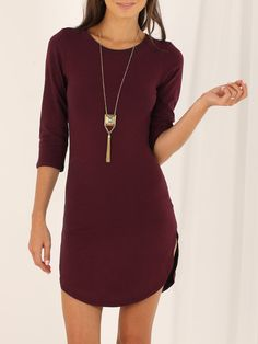 Wine Red Round Neck Split Casual Dress
