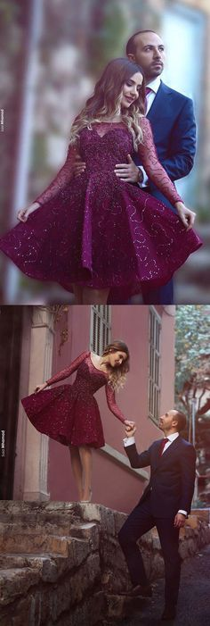 Grape Homecoming Dress,Beading Prom Dress,Knee Length Prom Dress,A Line Party…