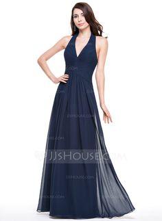 A-Line/Princess Halter Floor-Length Chiffon Evening Dress With Ruffle (017067276)