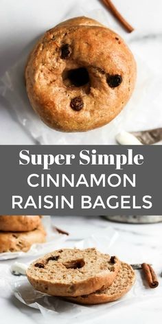 Easy Cinnamon Raisin Bagel Recipe Want homemade bagels that are so simple? This easy bagel recipe requires no boiling and no yeast–ready in less than an hour and so soft and chewy. Cinnamon Raisin is a classic flavor everyone loves! Cinnamon Bagels, Cinnamon Raisin Bagel, Cinnamon Swirl Bread, Craving Bread, Homemade Bagels, Sandwiches, Cooking Recipes, Bread Recipes, Breakfast