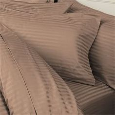 7PC ITALIAN 800 Thread Count Egyptian Cotton Set  Includes Sheet Set  Duvet Set King Taupe Stripe Premium ITALIAN Finish *** You can find out more details at the link of the image.