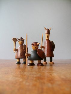 How cute are these?  A little out of my price range!  Mid Century Danish Modern Jacob Jensen Wooden Viking Figurines