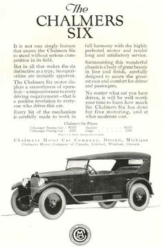 1922 Chalmers Ad Automobile Companies, Motor Company, Family Matters, Motor Car, Vintage