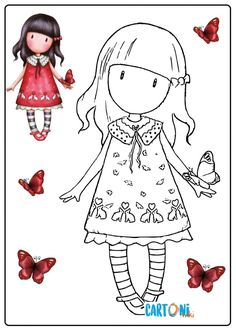 Flower Coloring Pages, Colouring Pages, Coloring Books, Hand Embroidery Flowers, Free Motion Embroidery, Prima Paper Dolls, Doodle People, Cute Cartoon Girl, Photo Album Scrapbooking