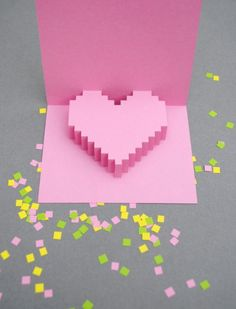Valentine's Day Pixel-y Popup Card - the perfect card for the tech geek in your life! :-)