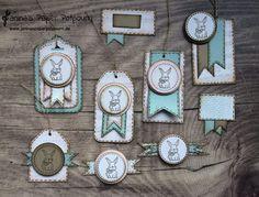 jpp -  Vintage Anhänger / tags zu Ostern aus Resten / Easter / card candy from scraps / Hase / Bunny / Häschen / Stampin' Up! Berlin / A Good Day, Sheet Music, Burlap www.janinaspaperpotpourri.de