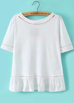 Peplum Hem Hollow White T-shirt Mobile Site