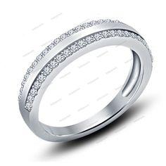 Silver Plated Classic Round Cut Simulated Diamond Wedding Band Ring For Women 's #WeddingAnniversaryBands