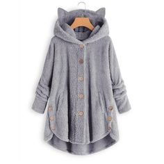 Teddy Bear Cat Ears Button Up Coat 39.99 CAD Winter Coats Women, Coats For Women, Jackets For Women, Fall Coats, Ladies Hooded Coats, Women's Coats, Mantel Elegant, Oversize Mantel, Shirt Bluse