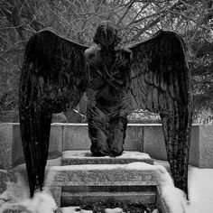 """hourglassofblacktears: """" Angel of Grief vault at The grave of Princess Elisabeth (Rosenhöhe, Darmstadt,) The angel statue is made by art nouveau sculptor Ludwig Habich. Cemetery Angels, Cemetery Statues, Cemetery Art, Highgate Cemetery, Angels Among Us, Angels And Demons, Statue Ange, Old Cemeteries, Graveyards"""