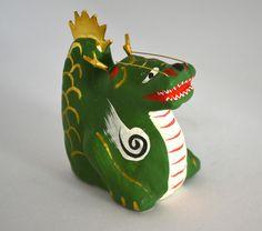 Dragon figurine, small vintage Japanese papier-mâché 'hariko' toy, hand crafted, mingei folk craft, Year of the Dragon 'tatsu', 1976 by StyledinJapan on Etsy