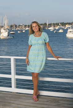 JILL DRESS - MANDALAY BAY BLUE/LIME