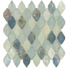 Atlantis Leaf Blue Glossy & Iridescent Glass Tile