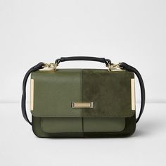 River Island Khaki green textured mini satchel bag (£24) ❤ liked on Polyvore featuring bags, handbags, fold over handbag, fold over purse, mini handbags, mini satchel and green purse