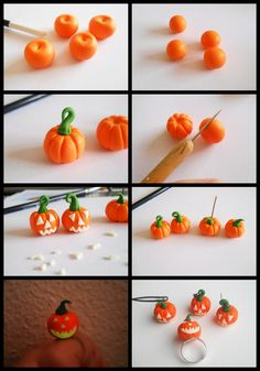 I chose to post this today as the Halloween is close. Materials: orange, green, fluorescent (or white) polymer clay. Tools: cutter, something with round. Sculpey Clay, Polymer Clay Projects, Polymer Clay Charms, Clay Crafts, Theme Halloween, Halloween Pumpkins, Fimo Ideas, Plastic Fou, Polymer Clay Halloween