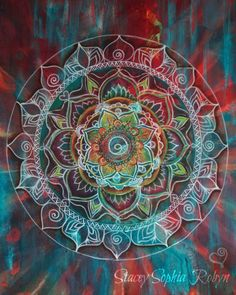 Grateful Heart Mandala by Stacey Sophia Robyn   Sacred Geometry Art Print   Tapestry Pattern   Hippie Design   Trippy Flower of Life Circle