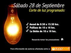 Corte de luz sábado 28 de septiembre