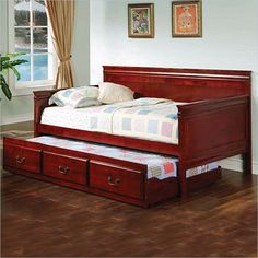 Coaster  Wood Daybed With Trundle in Cherry Finish -