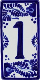 Pueblo 3 Talavera House Number -- wedding date in blue and white tile house numbers