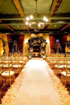 Line the aisle with rose petals and a classic aisle runner. Wedding Ceremony Decorations, Wedding Bells, Table Decorations, Decor Wedding, Wedding Ideas, Aisle Runner Wedding, Space Wedding, Country Chic, Rose Petals