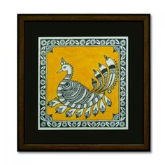 Kalamkari style painting of a peacock