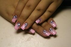 false nails pink rhinestones Favim.com 345568 false nails