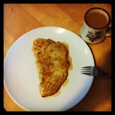 Banana omelette - 1 egg, 1/2 mashed banana, whisk, fry, serve with maple syrup. Delish and healthy