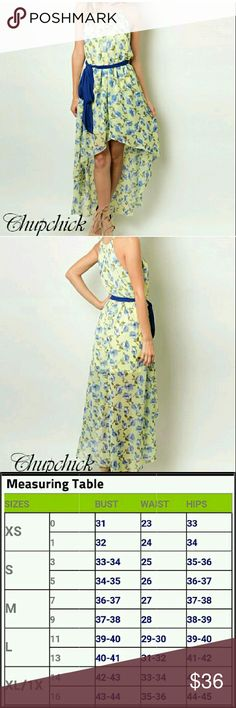 High-low yellow floral dress High-low yellow and blue floral dress with a blue belt Chupchick  Dresses High Low