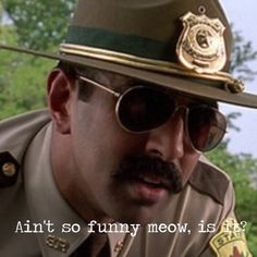 Post with 32 votes and 120340 views. Shared by jessiewong. Super Troopers Meow, Super Troopers Quotes, Funny Movies, Good Movies, Best Movie Quotes, Funny Quotes, Police Humor, Movie Lines, Work Memes