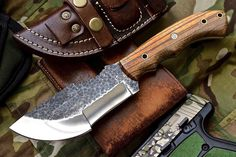 Custom Handmade Hammered 1095 High Carbon TRACKER Hunter ZEBRAWOOD Saw Knife by ComeandTakeThem on Etsy