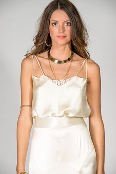 The Pearl Camisole ( Silk Satin, Lace & Pearl trim) Colour ( Ivory Lace. Available in Creme & Ivory Satin. Cream & Ivory Crepe)