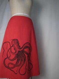 Cute!  Red ALine Skirt with Black Octopus Screen Print by AngiesSweatshop, $49.00
