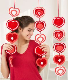Heart Strings Garland Free Crochet Pattern in Red Heart Yarns