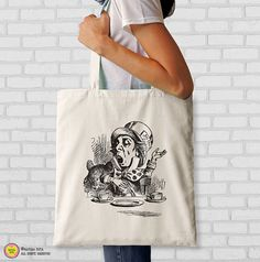 Mad Hatter Tea Party tote bag-Alice tote by naturapicta on Etsy