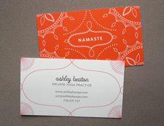 100 Custom Business Cards - Yoga Calling Cards - Namaste design. $54.00, via Etsy.