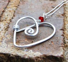 Silver. Aluminum. Red. Crystal. Heart. Pendant.. $15.00, via Etsy.