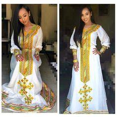 Kente Fabric Designs: See These Kente Styles For Fashionable Ladies - Lab Africa Ethiopian Wedding Dress, Ethiopian Dress, Ethiopian Traditional Dress, Traditional Dresses, Africa Fashion, Ethnic Fashion, Women's Fashion, Habesha Kemis, Eritrean