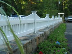 stone wall picket fence