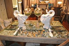 White Porcelain Pair of Elephant Heads .... $175 for the pair