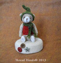 "~Crispin Bear~  OOAK, Miniature, Primitive style, Thread Artist Bear. 2.5"" tall, crocheted using Punch Threads."