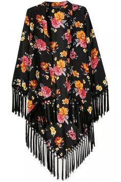 LUCLUC Black Floral Printed Tassel Fashionable Long Sleeve Kimono