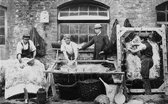 One of the earliest photographs recording a London industry, this picture is one of a series taken by Geoffrey Bevington, a leather merchant and tanner from Bermondsey. Bermondsey was the capital's leather processing centre Victorian London, Victorian Street, Victorian Life, Vintage London, Old London, South London, London History, British History, Old Pictures